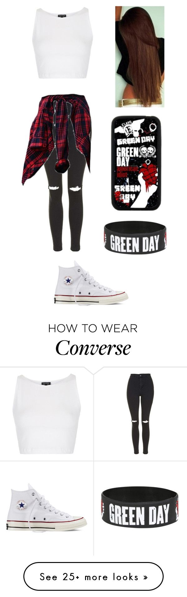 """""""Green Day Concert"""" by alltimelow-123 on Polyvore featuring Topshop, Converse and Samsung"""
