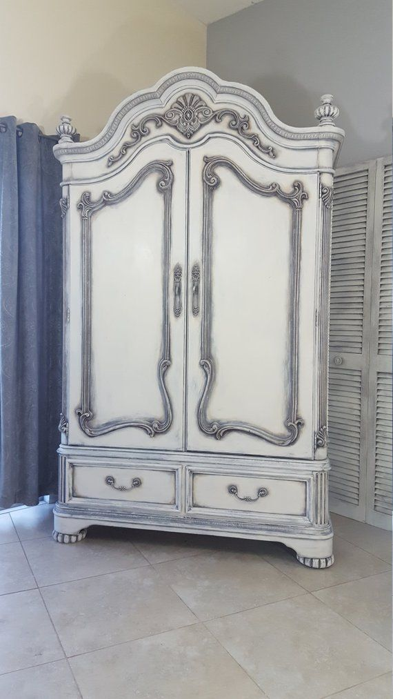 Sold Vintage French Country Shabby Chic Armoire Wardrobe Tv Cabinet Hand Painted And Distress