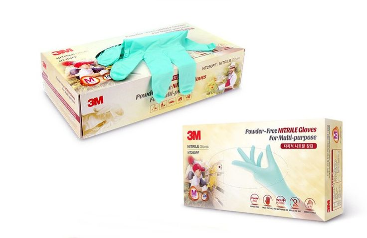 3M Disposable Powder-Free NITRILE Gloves For Multi-purpose 100Gloves Size S,M,L #3M