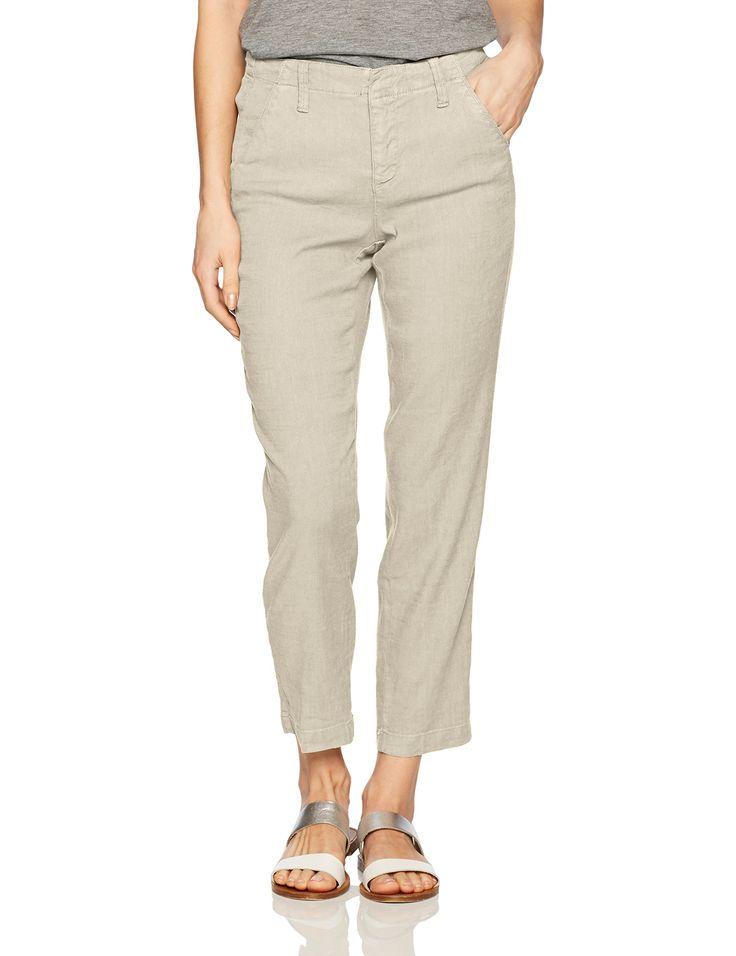 NYDJ Women's Slim Trousers in Stretch Linen, Stone, 8