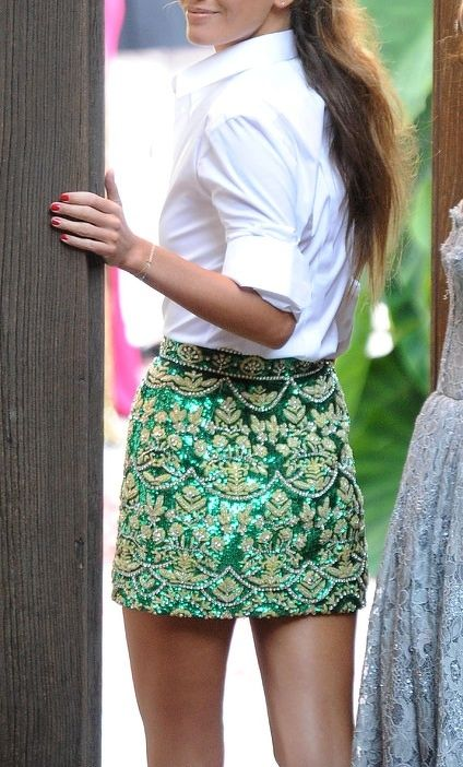 From adultrunaway.tumblr.com white shirt emerald green beaded embellished skirt