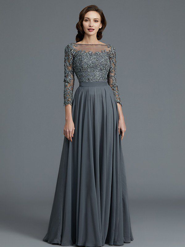 A-Line/Princess 3/4 Sleeves Bateau Floor-Length Chiffon Mother of the Bride Dresses - Mother of the Bride Dresses - Hebeos Online
