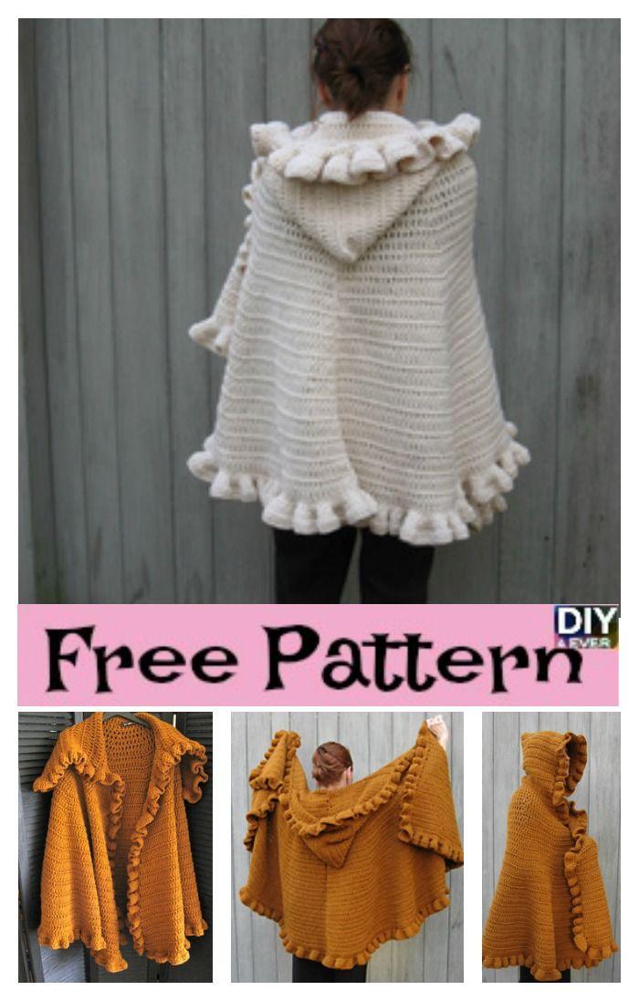 Cozy Crochet Ruffled Shawl – Free Pattern #crochetpattern #freepattern