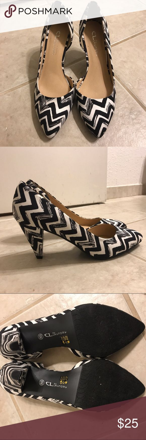 """Chinese Laundry Black and White D'orsay Heels Super cute back and white scribble chevron heels. 3"""". Brand new! Fabric upper. Almond toe. Chinese Laundry Shoes Heels"""