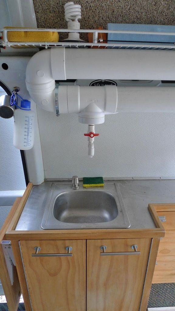 Nifty gravity-fed water supply in DIY Sprinter van conversion.