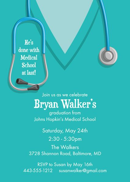 Graduation Scrubs Invitation A Scrubs Theme Invite For