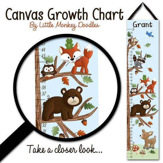 Canvas GROWTH CHART Woodland Friends Forest Animals Kids Bedroom Baby Nursery Wall Art