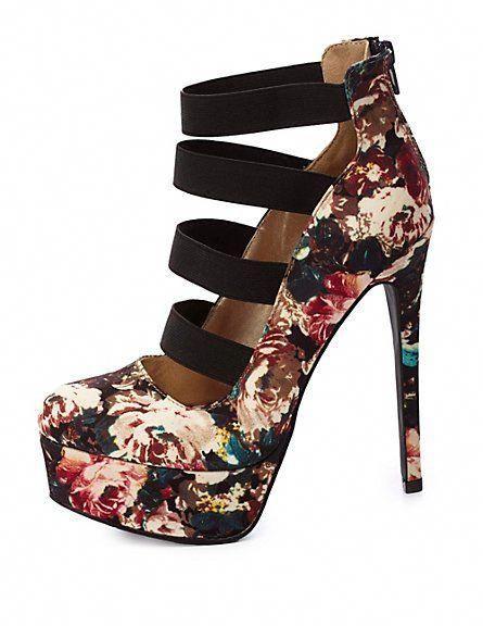 497ef85ce69 Qupid Floral Elastic-Banded Platform Pumps  CharlotteRusse  pumps   Shoeshighheels