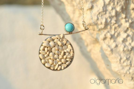 Unique Pendant Turquoise Necklace Greek Pebbles by OlgaMaria Jewel Inspirations