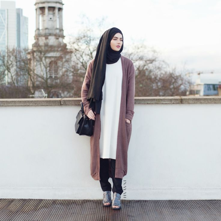 "islamic-fashion-inayah: ""- New Arrival Long Mushroom Cardigan - http://bit.ly/17iGQNQ Black Jersey Hijab - http://bit.ly/1tGqWnu Black Crossover Trousers -..."