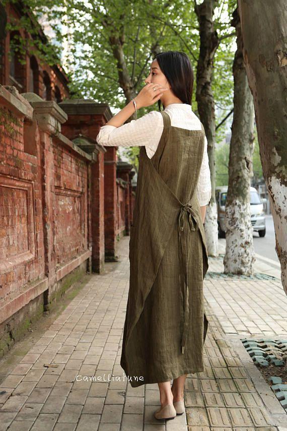 Linen Pinafore Dress Linen Apron Dress Maxi Linen Dress