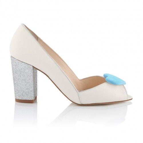 Zapatos de Novia Peep Toe con tacón block modelo Andrea Blue de Charlotte Mills ➡️ #LosZapatosdetuBoda #Boda