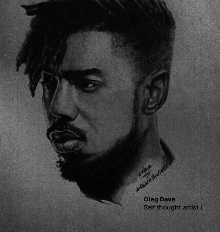 Michael B Jordan as Erik Killmonger in Black Panther réaliser au stylo bleu mais edited in BLACK AND WHITE by Oleg Dave instagram.com/olegdave05 ...This level must be celebrated