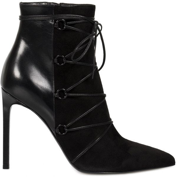 Saint Laurent Lace-Up Ankle Boot in Black Suede and Leather - Size 38 (€485) ❤ liked on Polyvore featuring shoes, boots, ankle booties, black, ankle boots, footwear, women, black booties, black leather booties and black lace-up boots