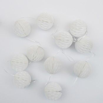7cm White Honeycomb Garland | The Party Cupboard