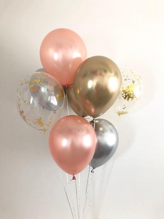 Black and Pink Balloon Bouquet with Gold Glitter Confetti Balloons Bundle of 6 balloons