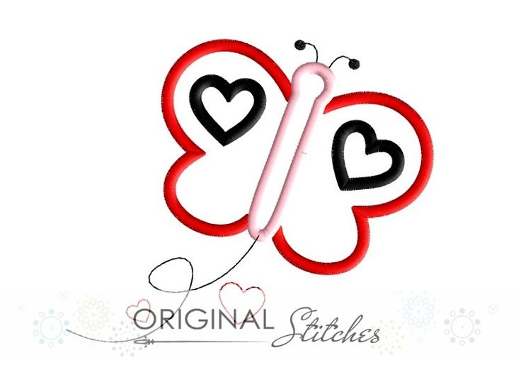 Heart Butterfly - Original Stitches - Embroidery and Applique Design Store