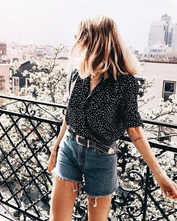 Polka dot top and denim shorts