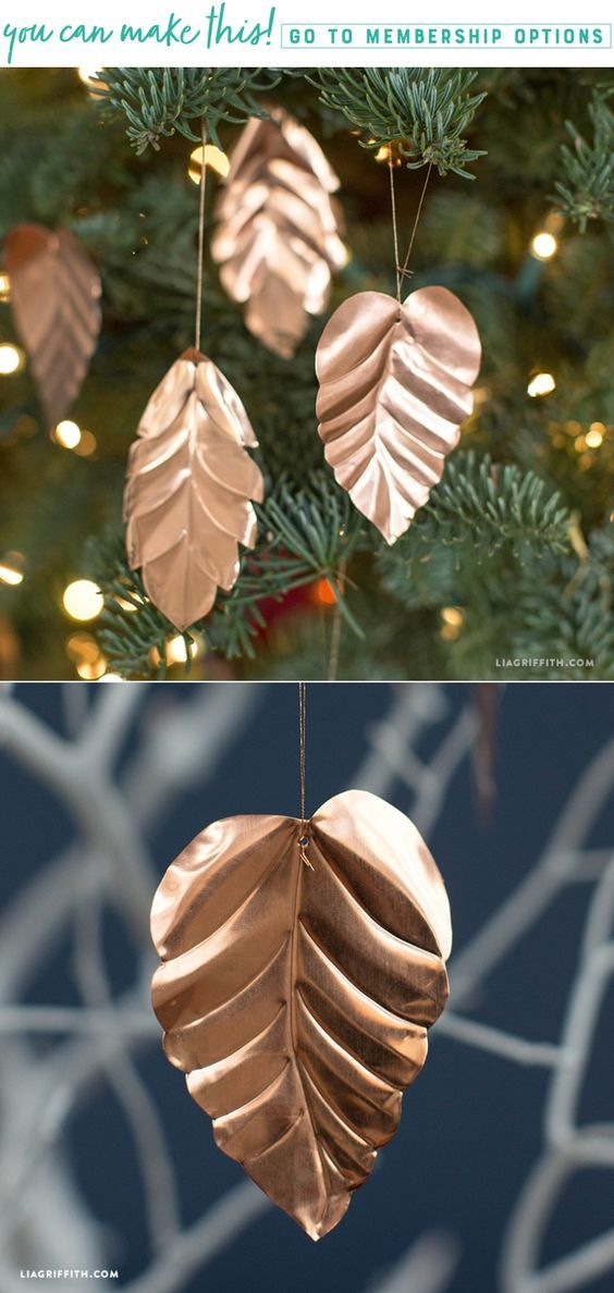 Learn how to make Copper Leaf Ornaments - Lia Griffith - www.liagriffith.com #diychristmas #diyornaments #diyholiday #diyholidays #diychristmasornaments #diyidea #diyideas #madewithlia