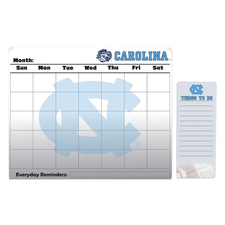 North Carolina Tar Heels Dry Erase Calendar & To-Do List Pad Set, Multicolor