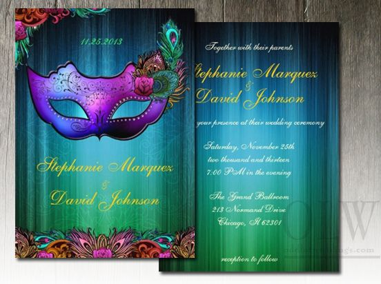 Masquerade Peacock Mask Wedding Invitation $2.05 With Envelopes Is A Great  Deal! #wedding #