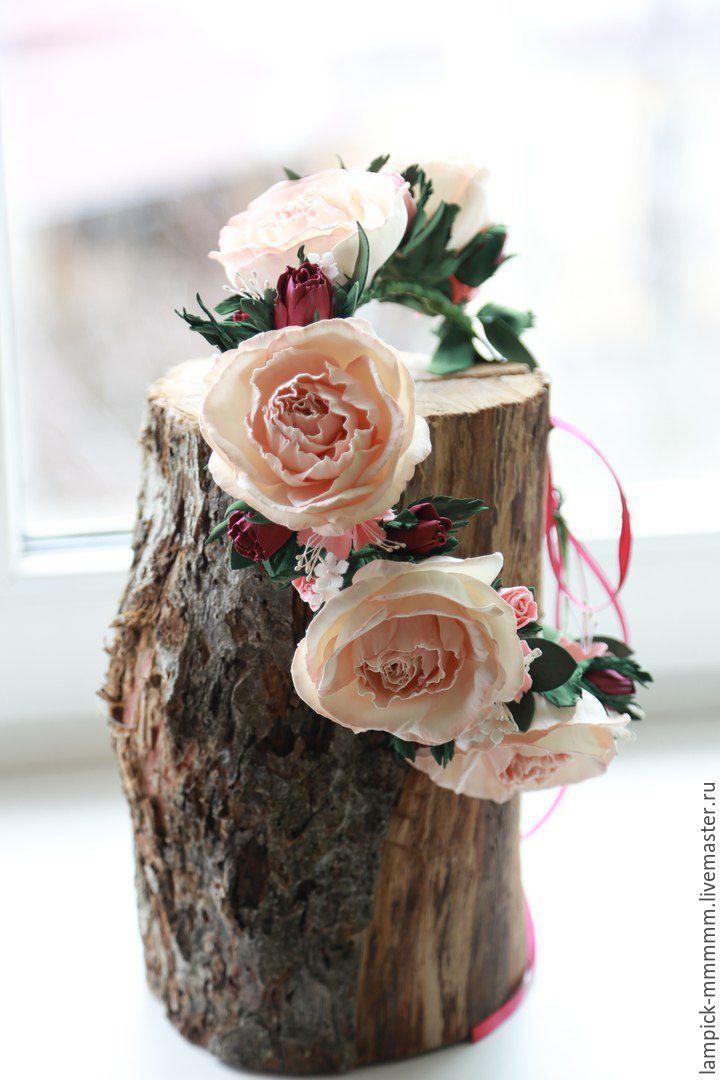Купить Венок - бежевый, венок из цветов, венок из фоамирана, ручная работа handmade, венок для фотосессии