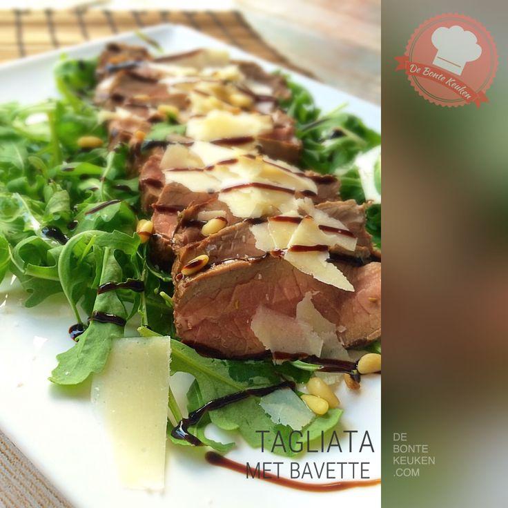 Tagliata met bavette TIP: dit is een uitstekend recept om rundvlees restje (zoals biefstuk, rib eye, ossenhaas, lende, enz) op te maken! (vlees, rund, bavette, rucola sla, Parmezaanse kaas, balsamico, makkelijk, avondeten, maaltijd, salade, bbq)