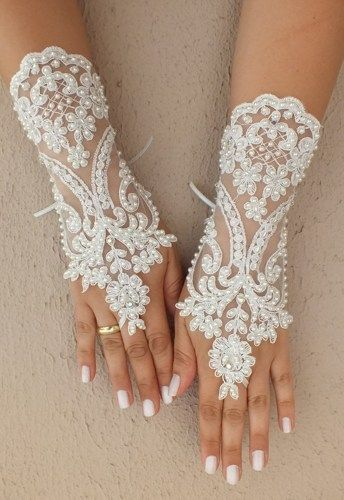 Ivory Wedding Glove, ivory lace gloves, glove Fingerless Glove,