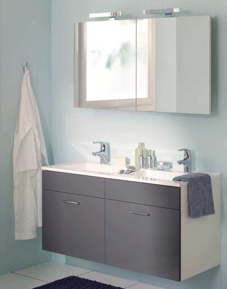meuble vasque gris et armoire de toilette sanijura httpwwwdeco - Ensemble Salle De Bain Gris
