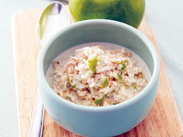 Breakfast bircher recipe - overnight oats with chia seeds and grated apple. Why bother?... Because what we eat in the morning can help us make healthier food choices for the entire day, and this delicious bircher gives you the perfect balance of healthy fats, protein and low GI carbs to help you do just that. Woman's health