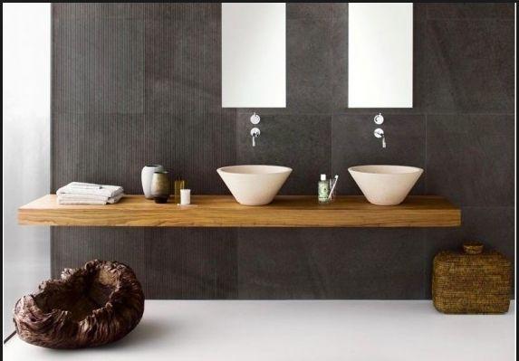 Ensuite - Dark Tile, White Sink, Timber Bench/Drawer