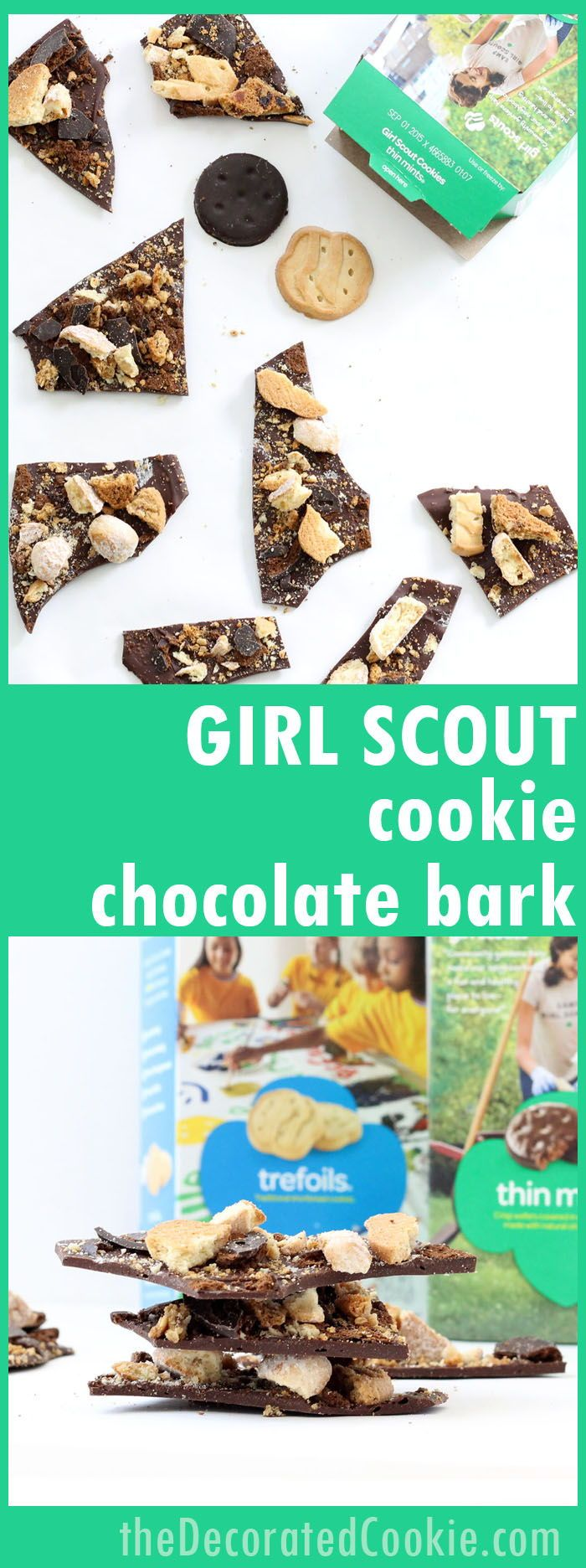 How to make Girl Scout cookie chocolate bark, a fun and easy dessert to use all your Girl Scout cookies.