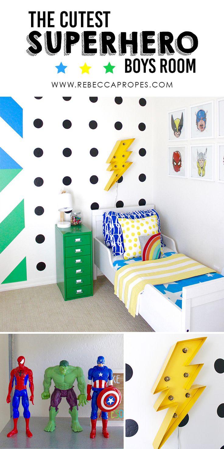 DIY Colorful Modern Boys Superhero Room