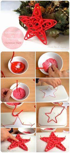 DIY Christmas Yarn Stars Decorations Ornaments