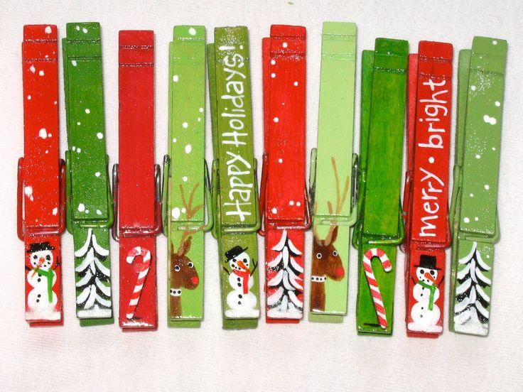 10 Pinzas de la ropa pintadas de Navidad y con imán - 10 Christmas clothespins hand painted magnetic set