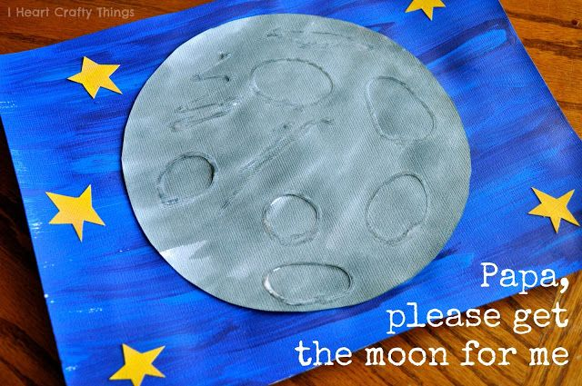 I Heart Crafty Things: Eric Carle inspired Moon Art. Use school glue to draw craters or a face on the moon before painting it with watercolors and it creates a fun touch and feel texture.