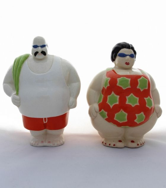 Mr. & Mrs. Swimmer - Potbelly Handmade Ceramic Figurine. Buy them from Wave2Africa - an online gift and decor boutique.