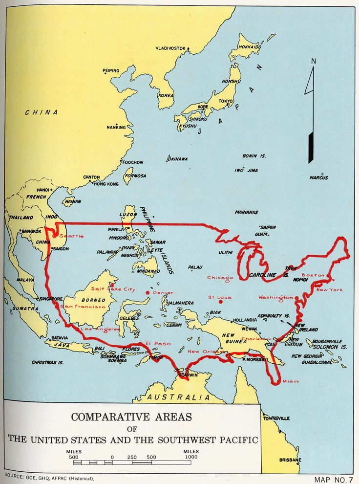 United States Superimposed On A Map Of The Southwest Pacific Theater Of World War Ii