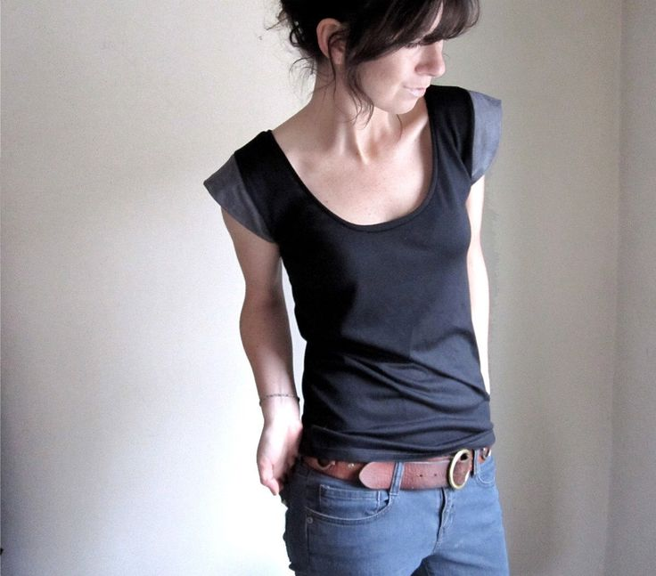 Black and Grey Women's Blouse, Womens Tee Shirt, Yoga Top, Modal Tshirt Tank, Yoga Clothes, Drape Tee. Neutral Color Block, Made to Order by THIMBLEandACORN on Etsy https://www.etsy.com/listing/111765065/black-and-grey-womens-blouse-womens-tee