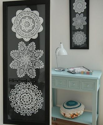 framed doilies...did this...awesome