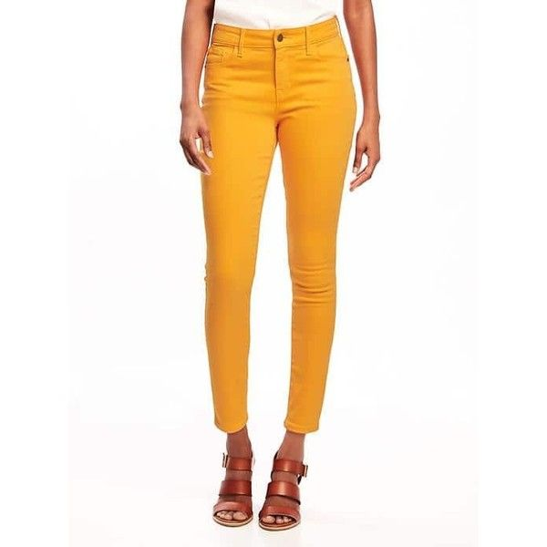 Old Navy Womens Mid Rise Rockstar Pop Color Ankle Jeans ($32) ❤ liked on Polyvore featuring jeans, eighteen carrots, patched skinny jeans, ankle zip jeans, white jeans, white skinny jeans and zipper skinny jeans