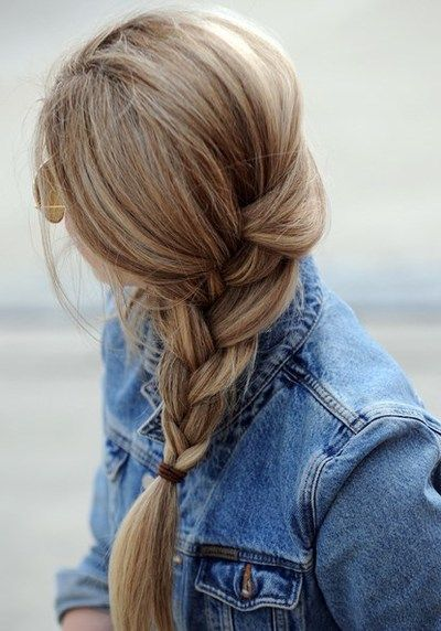 I love loose braids, and when it's tied up higher like this, not way down emphasizing all the split ends