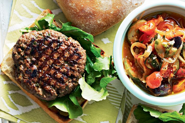 For a fancier #burger, try these French inspired patties on panini with ratatouille.
