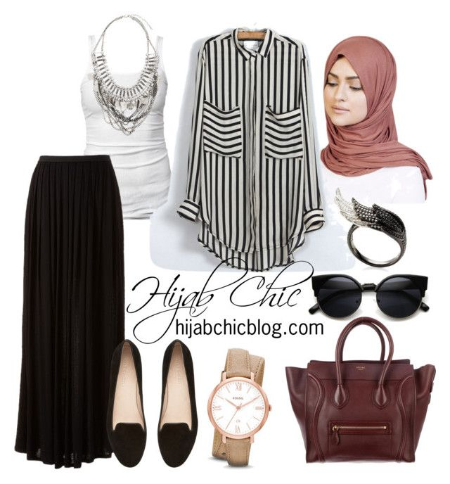 """hijabchicblog.com"" by hijab-chic on Polyvore featuring James Perse, LC Lauren Conrad, Witchery, CÉLINE, FOSSIL, H&M and AS29"
