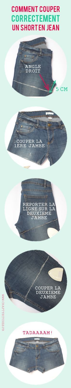 Crafty Bitches - Blog DIY, Couture, Déco, Vintage. Tuto couture, Do it yourself, décoration, rétro.: Comment couper un short en jean (sans faire de massacre)  ♥ #epinglercpartager