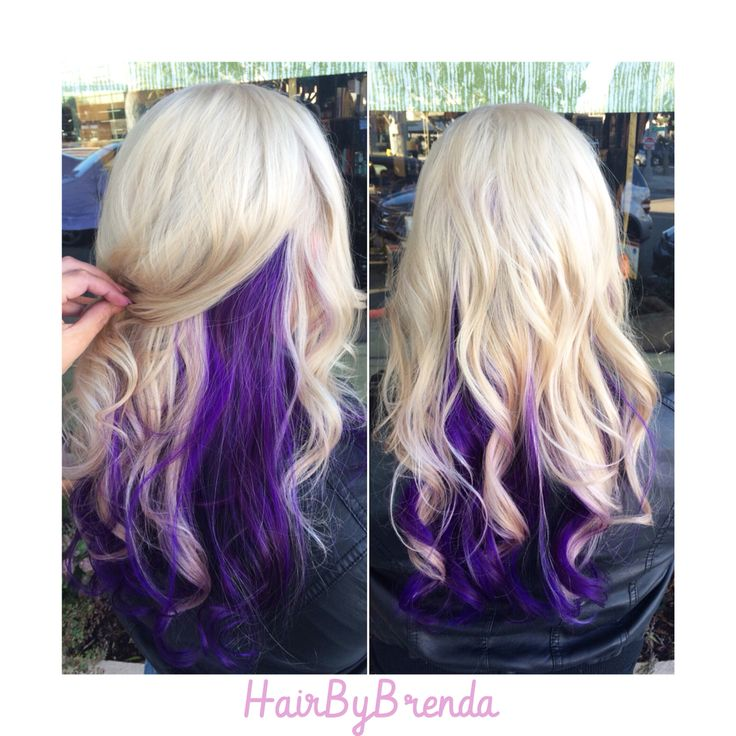 Peek a boo! Here's some lovely purple with a pure icy blonde. Thanks to Olaplex for keeping the integrity of her hair