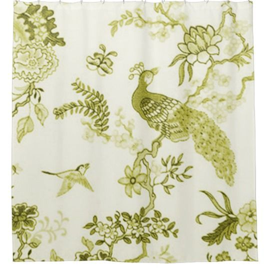 'Style' Peacock & Floral_Olive Green Shower Curtain