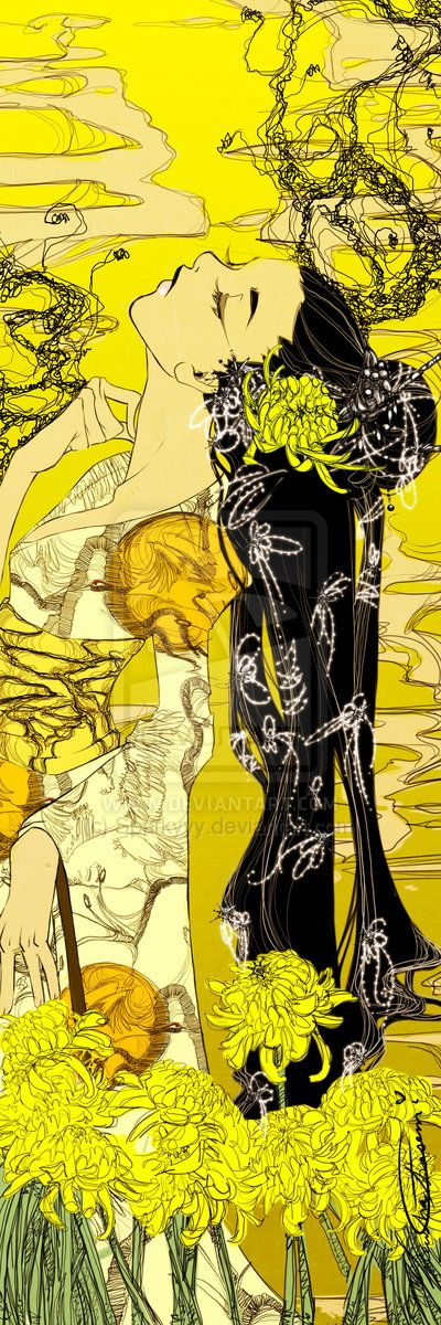 Yellow Chrysanthemum Bookmark by Newsha-Ghasemi.deviantart.com Involving patterns would be interesting.