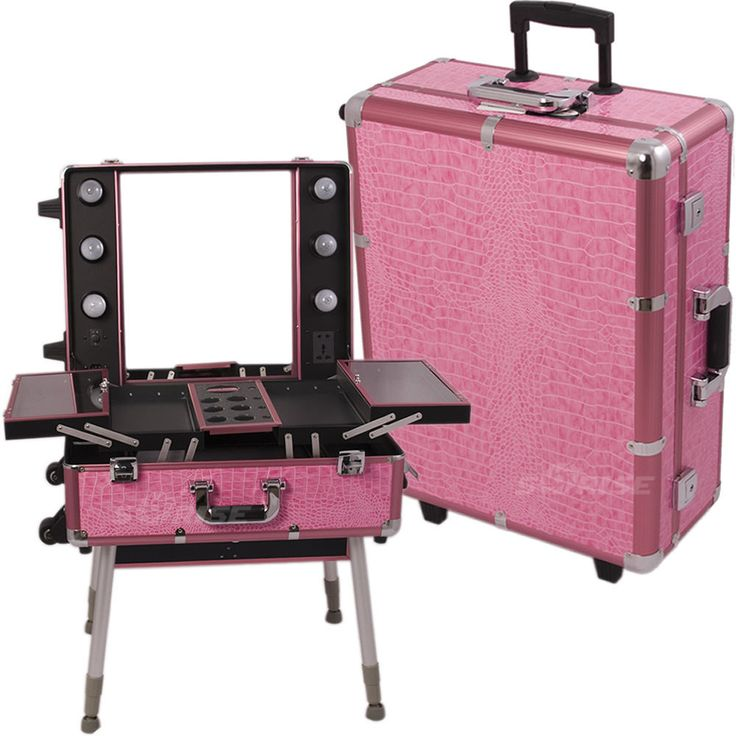 Professional Pink Trolley Portable Cosmetic Makeup Artist Table Organizer  Case