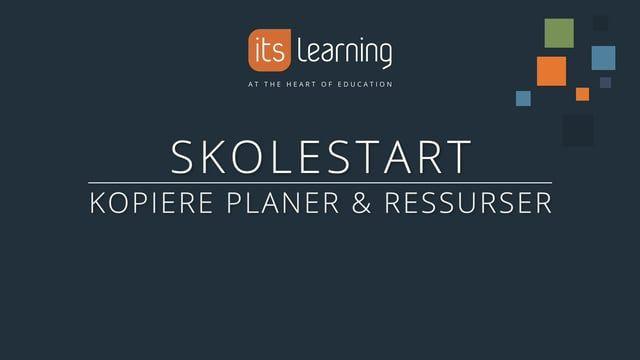 i denne videoen viser vi deg hvordan du kan gjenbruke planer og emner som du brukte med elevene i forrige skoleår.